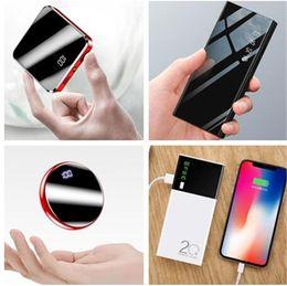 Tablet pc slim on-line-Mini Slim Power Bank Carregador Portátil bateria 20000 mah duplo USB Powerbank Lanterna LED para iPhone Android telefone móvel Tablet PC