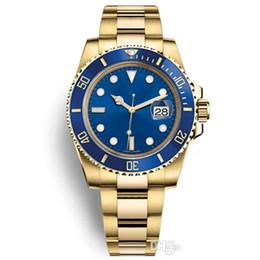 Herren krone uhr online-Luxus Herrenuhren Mechanische Edelstahl Automatische Golduhr mit Krone Sport Selbstaufzug Blau Uhren 116610 Armbanduhren