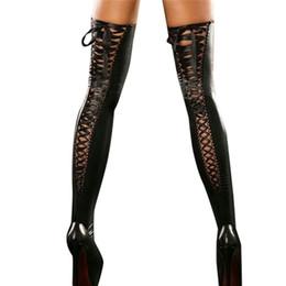 lunghi calzini in pelle Sconti 2018 nuove donne sexy club coscia alta calze di cuoio fasciatura di pizzo lungo calzini signore sopra le calze al ginocchio D19011701