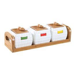 Frascos de vidrio online-Cocina creativa vitrocerámica vitrocerámica maceta cajón estante de bambú botella de la botella botella de sal ollas de cocina tarro de albañil tapas tarro