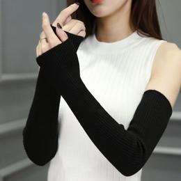 aquecedores de mão sem dedos Desconto Moda-mão Quente Feminino Fingerless Arm Warmers Braço Sólido Manga Cuff Luvas De Malha De Lã Para A Mulher Inverno Manter Quente Alta Elastic