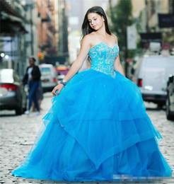 robes de soirée chez les adolescentes Promotion Bleu ciel balle douce 15 robes de Quinceanera 2019 cristaux perlés chérie volants Tulle jupe longue soirée robes de bal formelle pour les adolescents