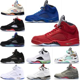 757885ffd788 5s red blue Suede OG1 V International Flight basketball shoes 5 1s White  Cement Black camo grey Fire Red trainers Sport Sneakers 7-13