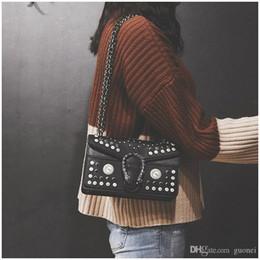2019 bonitas bolsas de hombro negro Nice Pop Listing Mujeres de la vendimia Cadena de Un Solo Hombro Messenger Bolso de Mano Bolso de Hombro de Pu Negro / rojo Vogue bonitas bolsas de hombro negro baratos
