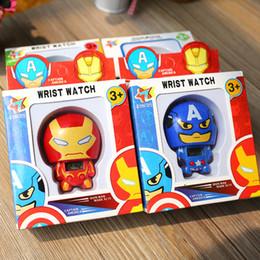 diapositivas de plástico para niños Rebajas New Electric Kids Boy Watch The Avengers Hulk Ironman spiderman Figura Juguetes Modelo Para Niños Regalo de Cumpleaños Regalo