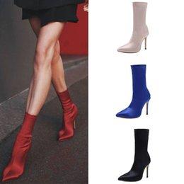 chaussettes talon Promotion Chaussures à talons hauts pompe pointu en soie élastique chaussettes chaussures femmes tendance de la mode portent des bottes de sport US5 ~ US11