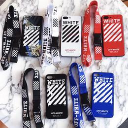 Yeni güzel Moda iPhone XS Için max X xr 7 8 Artı Beyaz kapalı boyama çizgili kapak Doubt İpi Ile Kapalı Stripes iPhone 6 6 s Artı XS X Çapa cheap white lanyards nereden beyaz şeritler tedarikçiler