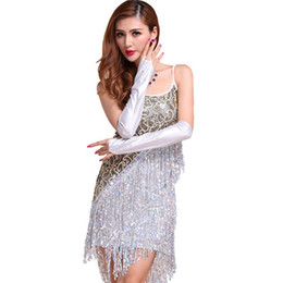 sexy ballroom dance skirts Coupons - Sexy Vestidos Solid Party Dresses Large Size Dress Women Sequins Fringes Tassel Skirt Ladies Latin Tango Ballroom Salsa Dance