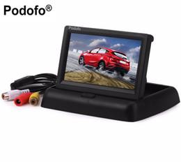 """Video player de entrada on-line-Podofo 4.3 """"polegadas Venda Quente Dobrável TFT LCD Monitor de Visão Traseira Do Carro Sistema de Cor w / 2-Channel Video Input Car Video Player"""
