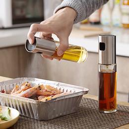 kochen sprühflasche Rabatt Küche Öl-Sprüher Pot Edelstahl Olive Herr Öl Spray Pump Feine Glasflasche Kochen Braten Backen Ölflasche Werkzeuge für Pasta FFA3088