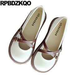 sapatos baixos japoneses Desconto Ajuste largo sapatos de senhoras de metal japonês escola mulheres chinês respirável dedo do pé redondo mary jane embellished estilo retro flats