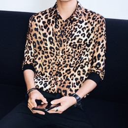 camisas de vestido dos homens da cópia do leopardo Desconto Moda Leopardo Impressão Man Camisa Camiseta Masculina Marca Venda Quente Meia Manga Pullover Social Camisa Vestido Solto Gola