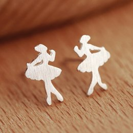 Compleanno di balletto online-Argento 925 piccolo ballerino ballerino orecchini ipoallergenici donne semplici moda danza ragazza accessori gioielli regali di compleanno
