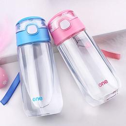 bottiglia di acqua di paglia bpa libera Sconti Biberon da esterno per bambini, bottiglia da esterno in plastica trasparente, BPA con paglia