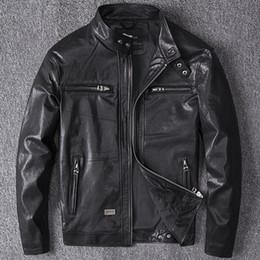 2020 primeras chaquetas de cuero genuino 2019 primavera Hombres Negro Abrigos de cuero genuino Chaqueta de moto Real primera capa piel de oveja 4XL nueva ropa chaqueta de bombardero masculino primeras chaquetas de cuero genuino baratos
