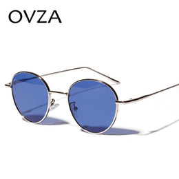 5b0892c9a9f8 OVZA Oval Punk Sunglasses Mens Classic Retro Vintage Sun glasses Woman Blue  Eyeglasses High Quality Metal Frame S7075