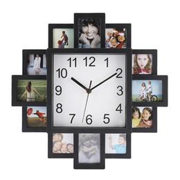 Dessins modernes photo en Ligne-2 en 1 DIY Cadre Photo Horloge DIY Horloge Murale Design Moderne En Plastique Art Photos Unique Décor À La Maison Horloge