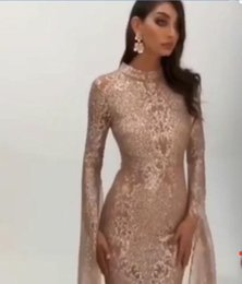 Canada Robe de soirée robe longue à manches longues en cristal perlé haut col gaine moderne classique Convient à toutes les tailles Belle 583 Offre