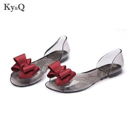 ad5d6906f49d0c 2019 Fashion Bow Tie Lady Flat Jelly Shoes Sexy Woman Summer Beach  Transparent Sandals Slip On Plus Size 40 affordable bow tie flat sandals