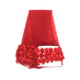 Chiffon francês do laço on-line-Bordado tecido de Renda Francesa 40 pcs flores 3D Chiffon Cluster Flores Vestido de Renda Decoração de Tecido de Renda Applique Aparar Suprimentos De Costura