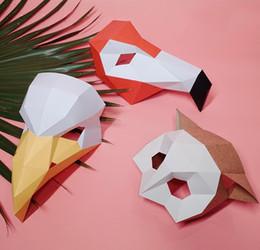 Corujas do origami on-line-Designer geométrico tridimensional origami net flamingo coruja águia fotografia Fontes do partido DIY Festivo Birtyday Partido Máscaras do Dia Das Bruxas