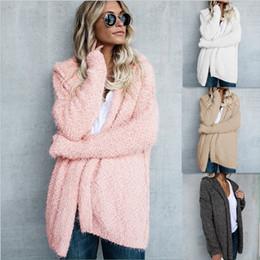 Estilista para mulheres Malhas Nova Chegada de Marca Cardigan Sweater Mulheres casaco quente Moda capuz Cardigan tamanho S-5XL grosso de Fornecedores de jaqueta de pele de coelho real e branca