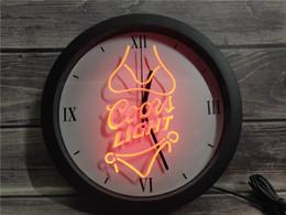 coors neon light light Promotion 0E119 Coors Light Beer Bikini Bar Pub APP RGB LED 5050 Neon Light Signs Horloge murale