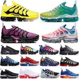 zapatos de color verde brillante Rebajas Nuevo estilo Bumblebee Sunset Fades Green TN Plus Zapatos para correr para hombres mujeres UVA Brillante carmesí Hyper Wolf Gris para hombre Zapatillas de deporte Zapatillas de deporte