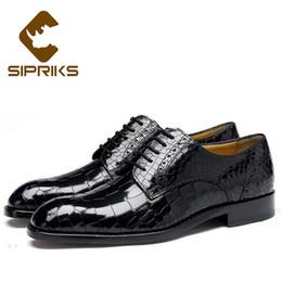 4753e05bda Sipriks marca de lujo para hombre Goodyear Welt Shoes moda clásico negro  blanco marrón piel de cocodrilo zapatos de vestir trajes de caballero Social  45 ...