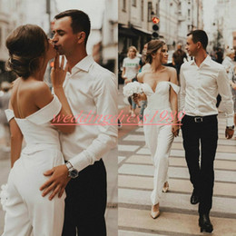 jumpsuit black wedding Coupons - New Designer Jumpsuits Wedding Dresses Off Shoulder Satin Spring Beach Mariage Arabic Plus Size Bridal Ball Gown For Bride robe de mariée
