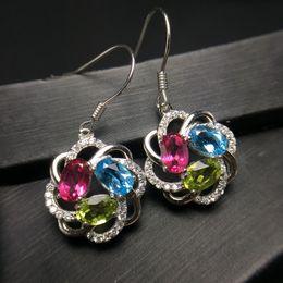 свадебные ювелирные изделия с бриллиантами Скидка Uloveido Natural Blue Topaz Drop Earrings for Women, 925 Sterling Silver, 4*6mm* 6Pcs Gemstone Ear Stud Fine Jewelry FR125