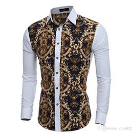 camisa de vestir grande para hombre Rebajas Grandes estampados florales de época Camisas de vestir para hombre Camisa social informal de manga larga, corte slim para hombre Chemise
