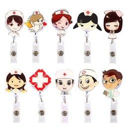 Cartoon Nurse Doctor Retrátil Carretel ID Emblema Etiqueta Nome Cartão Tag Clipe Titular Chave, Apito, colhedor Crachá Dos Desenhos Animados Enfermeira de