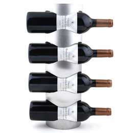 Supporto a muro per bottiglie di vino online-Preferenza 1PC 3 o 4 fori in acciaio inossidabile da parete Portabottiglie Portabottiglie Portabottiglie da vino per uso domestico con viti