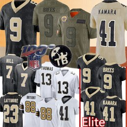 Brees camisa de futebol on-line-41 Alvin Kamara 9 Drew Brees Jersey 13 Michael Thomas Taysom Hill 23 Marshon Lattimore Dez Bryant Futebol