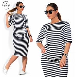 Großer weißer gürtel online-5Xl Große Größen-Frühlings-Sommer-Kleid-große Größen-Weiß Schwarz gestreifte Kleider plus Größe Frauen Kleidung Gürtel Vestidos Kleid-Kleidung