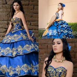 trendige quinceanera Rabatt Königsblau Luxus Stickerei Quinceanera Kleider Mexikanische vestidos de quinceañera elegantes Schatz Rüschen Tiered Formale Abschlussball-Partykleider