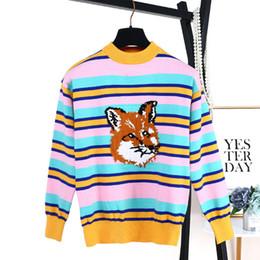 Jersey de zorro de tejer online-2019 Mujeres Suéter de Rayas de Color Fox Cabeza Jacquard Adelgaza Punto de Punto Primavera Otoño Nuevas Mujeres Suéteres Jerseys Suéteres