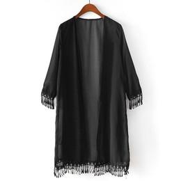 Cardigan de encaje blanco de manga larga online-Verano Mujer Borlas Playa Manga media Camisa de encaje Gasa Cardigan protector solar Ropa Blanco, Negro # 137
