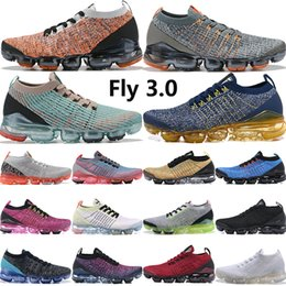 bright shoes Promo Codes - Fly 3.0 navy gold Bright Mango Pure Platinum men women running shoes Triple Black White blue fury mens designer shoes