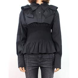 Le camicette korean top online-Camicetta nera Camicetta Donna Colletto arruffato Manica lunga Tunic Tops Donna Large Size Stile coreano 2019 Spring New