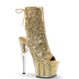 sapatas do salto alto tamanho 15 Desconto Mulheres Botas de Tornozelo Glitter 15 cm de Salto Alto Stripper Sapatos de Plataforma Saltos Transparentes Zip Lace Up Botas Sapatos de Senhoras Plus Size 43
