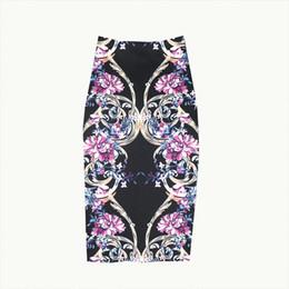 Vestuário violeta on-line-Roupas de moda feminina de verão New Violet impresso saias cintura alta magro meias saias