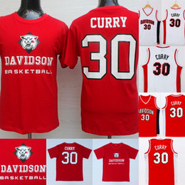 2019 curry de oro blanco Mens NCAA # 30 Steph Curry Davidson Wildcats College University Basketball Sportswear Jersey rojo blanco curry de oro blanco baratos