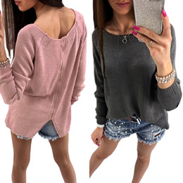 Hot Sale Fashion Back Zipper Sweater For Women Cardigans Autumn Long Sleeve  Casual Female Cardigan Knitted Sweater Tops 81b7ca57e