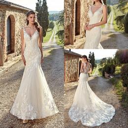 d799c67ca41c abiti da sposa in pizzo pulsanti coperti Sconti 2019 elegante avorio sirena abiti  da sposa profondo