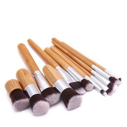 sobrancelha plana Desconto Conjunto de pincéis de maquiagem de Bambu Lidar Com Sombra de Sobrancelha Corretivo Blush Foundation Cosméticos Pincéis Ferramentas de Beleza Liso Angular LJJS130