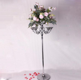 centrais altas Desconto Wedding Centerpieces 150cm Tall Artificial Flower Stand fashion road lead five heads Wedding Prop Candle Holders Tabletop Ornament