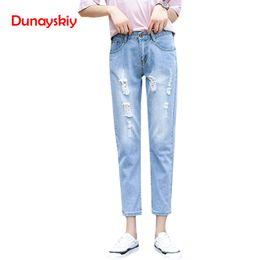jeans coreanos de talle alto Rebajas Jeans de lápiz casuales azules de cintura alta Vintage Ladies Boyfriend Jeans para mujeres Mom Ripped Korean Hole Loose 2019