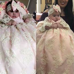 vestido de comunión escote ilusión Rebajas Adorable Rosa Claro Vestidos de Bautizo Para Bebé Niña Vestidos de Bautizo para Niños Pequeños Con Lentejuelas Apliques de Encaje Niños Primer Vestido de Comunicación